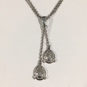 14k White Gold Dangling Diamond 💎Pendant Necklace